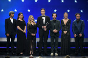 (L-R) Kunal Nayyar, Mayim Bialik, Melissa Rauch, Jim Parsons, Simon Helberg, Kaley Cuoco, and Johnny Galecki speak onstage during the 24th annual Critics' Choice Awards at Barker Hangar on January 13, 2019 in Santa Monica, California.