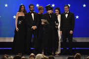 (L-R) Marin Hinkle, Tony Shalhoub, Caroline Aaron, Amy Sherman-Palladino, Kevin Pollak, Rachel Brosnahan, and Daniel Palladino accept the award for Best Comedy Series onstage during the 24th annual Critics' Choice Awards at Barker Hangar on January 13, 2019 in Santa Monica, California.