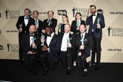 Cast of 'Veep', winners of Outstanding Performance by an Ensemble in a Comedy Series, pose in the press room during the 24th Annual Screen Actors Guild Awards at The Shrine Auditorium on January 21, 2018 in Los Angeles, California. 27522_017