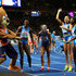Audrey Alloh, Irene Siragusa, Gloria Hooper and Johanelis Herrera-Abreu of Italy dance with mascot Berlino after the Women's 4x100 metres relay final during day six of the 24th European Athletics Championships at Olympiastadion on August 12, 2018 in Berlin, Germany. This event forms part of the first multi-sport European Championships.