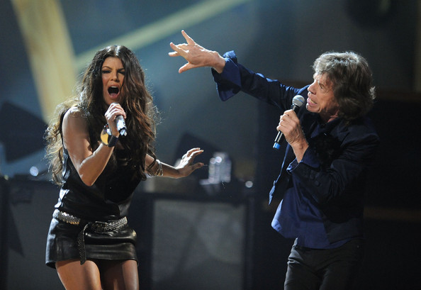 Fergie of Black Eyed Peas and Mick Jagger of The Rolling Stones perform with U2 onstage at the 25th Anniversary Rock & Roll Hall of Fame Concert at Madison Square Garden on October 30, 2009 in New York City.