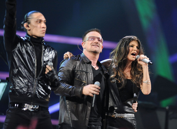 Taboo of Black Eyed Peas, Bono of U2 and Fergie of Black Eyed Peas perform onstage at the 25th Anniversary Rock & Roll Hall of Fame Concert at Madison Square Garden on October 30, 2009 in New York City.