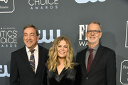 (L-R) Peter Del Vecho, Jennifer Lee, and Chris Buck attend the 25th Annual Critics' Choice Awards at Barker Hangar on January 12, 2020 in Santa Monica, California.