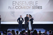 The cast of ?The Marvelous Mrs. Maisel? accepts Outstanding Performance by an Ensemble in a Comedy Series onstage during the 25th Annual Screen Actors Guild Awards at The Shrine Auditorium on January 27, 2019 in Los Angeles, California. 480493