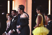 (L-R) Melanie Liburd, Hannah Zeile, Niles Fitch, Jon Huertas, Justin Hartley, Mandy Moore, and Susan Kelechi Watson accept award for Outstanding Performance by an Ensemble in a Drama Series in 'This Is Us' onstage during the 25th Annual Screen ActorsGuild Awards at The Shrine Auditorium on January 27, 2019 in Los Angeles, California. 480595