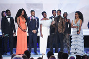 The cast of ?Black Panther? accepts Outstanding Performance by a Cast in a Motion Picture onstage during the 25th Annual Screen ActorsGuild Awards at The Shrine Auditorium on January 27, 2019 in Los Angeles, California. 480493