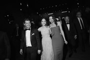 Image has been shot in black and white. Color version not available.)  (L-R) Joel Johnstone, Rachel Brosnahan, Marin Hinkle, and Kevin Pollak, winners of Outstanding Performance by an Ensemble in a Comedy Series for 'The Marvelous Mrs. Maisel,' attend the 25th Annual Screen Actors Guild Awards at The Shrine Auditorium on January 27, 2019 in Los Angeles, California. 480620