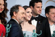 "(L-R) Kevin Pollak, Rachel Brosnahan and Luke Kirby pose in the press room with awards for Outstanding Performance by an Ensemble in a Comedy Series in ""The Marvelous Mrs. Maisel,"" pose in the press room at the 25th annual Screen Actors Guild Awards at The Shrine Auditorium on January 27, 2019 in Los Angeles, California."