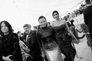 Image has been shot in black and white. No color version available) Ellen Wong (L) and Sunita Mani attend the 25th Annual Screen ActorsGuild Awards at The Shrine Auditorium on January 27, 2019 in Los Angeles, California. 480620