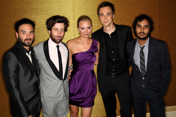 (L-R) Actors Johnny Galecki, Simon Helberg, Kaley Cuoco, Jim Parsons and Kunal Nayyar arrive at the PBS portion of the 2009 Summer Television Critics Association Press Tour held at the The Langham Huntington Hotel & Spa on July 30, 2009 in Pasadena, California.