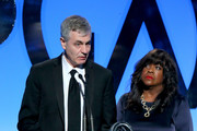 Producers Steve James (L) and Chaz Ebert accept the Outstanding Producer of Documentary Theatrical Motion Pictures award for 'Life Itself' onstage during the 26th Annual Producers Guild Of America Awards at the Hyatt Regency Century Plaza on January 24, 2015 in Los Angeles, California.