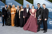 (L-R) Dustin Milligan, Catherine O'Hara, Eugene Levy, Sarah Levy, Jennifer Robertson, Emily Hampshire, Daniel Levy, Annie Murphy and Noah Reid of Schitt's Creek attends the 26th Annual Screen Actors Guild Awards at The Shrine Auditorium on January 19, 2020 in Los Angeles, California.
