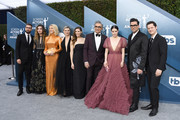 (L-R) Dustin Milligan, Annie Murphy, Catherine O'Hara, Jennifer Robertson, Sarah Levy, Eugene Levy, Emily Hampshire, Daniel Levy, and Noah Reid attend the 26th Annual Screen Actors Guild Awards at The Shrine Auditorium on January 19, 2020 in Los Angeles, California.