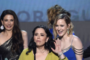 (L-R) Marin Hinkle, Alex Borstein and Rachel Brosnahan accept Outstanding Performance by an Ensemble in a Comedy Series for 'The Marvelous Mrs. Maisel' onstage at the 26th Annual Screen Actors Guild Awards at The Shrine Auditorium on January 19, 2020 in Los Angeles, California. 721359