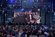 (L-R) Dan Levy and Eugene Levy seen onscreen onstage during the 26th Annual Screen Actors Guild Awards at The Shrine Auditorium on January 19, 2020 in Los Angeles, California. 721359