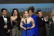 (L-R) Michael Zegen, Marin Hinkle, Rachel Brosnahan, Caroline Aaron, Joel Johnstone, and Matilda Szydagis accept Outstanding Performance by an Ensemble in a Comedy Series for 'The Marvelous Mrs. Maisel' onstage at the 26th Annual Screen Actors Guild Awards at The Shrine Auditorium on January 19, 2020 in Los Angeles, California. 721359