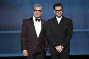 (L-R) Eugene Levy and  Dan Levy speak onstage at the 26th Annual Screen Actors Guild Awards at The Shrine Auditorium on January 19, 2020 in Los Angeles, California. 721359