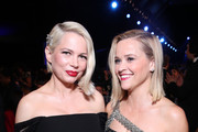 (L-R) Michelle Williams and Reese Witherspoon speak during the 26th Annual Screen Actors Guild Awards at The Shrine Auditorium on January 19, 2020 in Los Angeles, California.