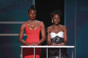 (L-R) Danai Gurira and Lupita Nyong'o speak onstage during the 26th Annual Screen ActorsGuild Awards at The Shrine Auditorium on January 19, 2020 in Los Angeles, California.