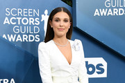 This image is a retransmission) Millie Bobby Brown attends the 26th Annual Screen ActorsGuild Awards at The Shrine Auditorium on January 19, 2020 in Los Angeles, California.