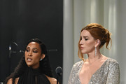 MJ Rodriguez and Our Lady J speak on stage at the 28th Annual Elton John AIDS Foundation Academy Awards Viewing Party sponsored by IMDb, Neuro Drinks and Walmart on February 09, 2020 in West Hollywood, California.