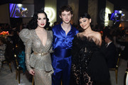 Dita Von Teese, Troye Sivan and Alexa Demie attend the 28th Annual Elton John AIDS Foundation Academy Awards Viewing Party sponsored by IMDb, Neuro Drinks and Walmart on February 09, 2020 in West Hollywood, California.