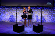 Karrueche Tran (L) and Mayim Bialik speak onstage during The 29th Annual Environmental Media Awards at Montage Beverly Hills on May 30, 2019 in Beverly Hills, California.