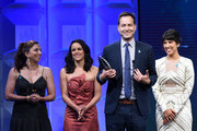 (L-R) Chelsea Peretti, Melissa Fumero, Dan Fogelman and Stephanie Beatriz accept the Outstanding Comedy Series award for 'Brooklyn Nine-Nine' onstage at the 29th Annual GLAAD Media Awards at The Beverly Hilton Hotel on April 12, 2018 in Beverly Hills, California.