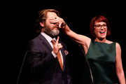 Actor Nick Offerman and actress Megan Mullally speak onstage at the 29th Annual Lucille Lortel Awards at NYU Skirball Center on May 4, 2014 in New York City.