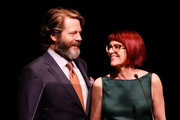 Actor Nick Offerman and actress Megan Mullally host onstage at the 29th Annual Lucille Lortel Awards at NYU Skirball Center on May 4, 2014 in New York City.