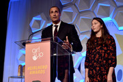 Nigel Barker (L) and Jasmine Ines Barker speak onstage at the 2nd Annual Girl Up #GirlHero Awards at the Beverly Wilshire Four Seasons Hotel on October 13, 2019 in Beverly Hills, California.