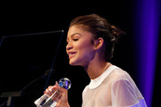 Actress Zendaya accepts award onstage at the 2nd Annual unite4:humanity presented by ALCATEL ONETOUCH at the Beverly Hilton Hotel on February 19, 2015 in Los Angeles, California.