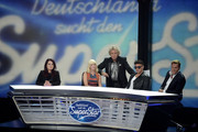 (L-R) 'DSDS 2014' jury members Marianne Rosenberg, Mieze Katz, Prince Kay One, Dieter Bohlen and presenter Thomas Gottschalk (C) look on during the taping of the anniversary show '30 Jahre RTL - Die grosse Jubilaeumsshow mit Thomas Gottschalk' on December 19, 2013 in Huerth, Germany.