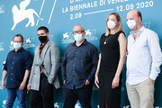"""(L-R) Steve Matthews, Miguel Ángel Silvestre and Director Álex de la Iglesia, Carolina Bang and Jorge Guerricaechevarría attend the photocall of the movie """"30 Monedas"""" (30 Coins) - Episode 1 at the 77th Venice Film Festival on September 11, 2020 in Venice, Italy."""