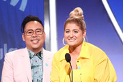 (L-R) Nico Santos and Meghan Trainor speak onstage during the 30th Annual GLAAD Media Awards Los Angeles at The Beverly Hilton Hotel on March 28, 2019 in Beverly Hills, California.