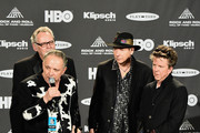 Jimmie Vaughan and inductees Reese Wynans, Tommy Shannon and Chris Layton of Stevie Ray Vaughan and Double Trouble speak in the press room during the 30th Annual Rock And Roll Hall Of Fame Induction Ceremony at Public Hall on April 18, 2015 in Cleveland, Ohio.
