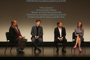 Moderator Mitch Levine, actors Nick Robinson and William H Macy and producer Rachel Winter speak onstage at the 'Krystal' screening and Q&A at Paramount Theater during the 30th Annual Virginia Film Festival at the University of Virginia on November 10, 2017 in Charlottesville, Virginia.