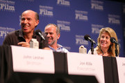 Producers Jon Kilik of 'Foxcatcher,' Jeremy Dawson of 'The Grand Budapest Hotel,' and Lisa Bruce of 'The Theory of Everything' speak at the Producers Panel at the Lobero, at the 30th Santa Barbara International Film Festival on January 31, 2015 in Santa Barbara, California.