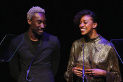 Nathan Stewart-Jarrett and Condola Rashad speak onstage during the 33rd Annual Lucille Lortel Awards on May 6, 2018 in New York City.|