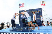 Top triathlon performers onstage during the post race ceremony at the 33rd Annual Nautica Malibu Triathlon Presented By Bank Of America on September 15, 2019 in Malibu, California.