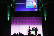 Soccer player Julie Foudy and Softball player Jessica Mendoza speak onstage during the 36th Annual Salute to Women In Sports at Cipriani Wall Street on October 20, 2015 in New York City.
