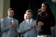 Jordin Sparks sings the national anthem as Davis Love III and Keegan Bradley of the USA look on during the Opening Ceremony for the 39th Ryder Cup at Medinah Country Club on September 27, 2012 in Medinah, Illinois.