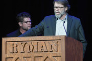 Songwriters Tony Martin and Lee Miller speak onstage during the 3rd Annual AIMP Awards at Ryman Auditorium on May 7, 2018 in Nashville, Tennessee.