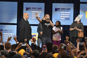 (L-R) Diggy Simmons, Justine Simmons, Rev. Run, and Russell Simmons II speak onstage at the 3rd Annual College Signing Day at the Harlem Armory on April 26, 2016 in New York City. The event, co-hosted by MTV, was  part of First Lady Michelle Obama's Reach Higher initiative which encourages young people to continue their education past High School.