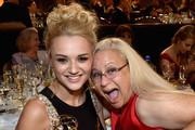 Actress Hunter King (L), winner of Outstanding Younger Actress in a Drama Series for 'The Young and the Restless,' and guest attend The 41st Annual Daytime Emmy Awards at The Beverly Hilton Hotel on June 22, 2014 in Beverly Hills, California.