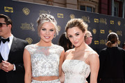 Actresses Hunter King (R) and Kelli Goss attend The 42nd Annual Daytime Emmy Awards at Warner Bros. Studios on April 26, 2015 in Burbank, California.
