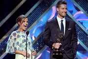 Actors Melissa Claire Egan (L) and Justin Hartley speak onstage during The 42nd Annual Daytime Emmy Awards at Warner Bros. Studios on April 26, 2015 in Burbank, California.
