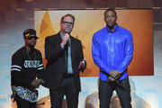 Canon, Bart Millard, and Lecrae host onstage during the 45th Annual Dove Awards at Allen Arena, Lipscomb University on October 7, 2014 in Nashville, Tennessee.
