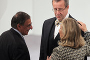 US Secretary of State Hillary Clinton (R) chats with US Secretary of Defense Leon Panetta (L) and President of Estonia Toomas Hendrik Ilves during day 2 of the 48th Munich Security Conference at Hotel Bayerischer Hof on February 4, 2012 in Munich, Germany. The 48th Munich conference on security policy is running until February 5, 2012.