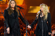 Singers Hillary Scott of Lady Antebellum (L) and Stevie Nicks perform onstage during the 49th Annual Academy Of Country Music Awards at the MGM Grand Garden Arena on April 6, 2014 in Las Vegas, Nevada.